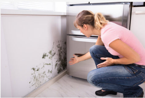 woman with moldy wall